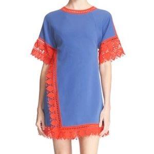 Tory Burch Marissa Dress Blue &Orange Lace Wrap 12